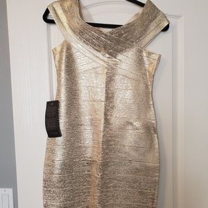 sexy gold fitted bebe dress
